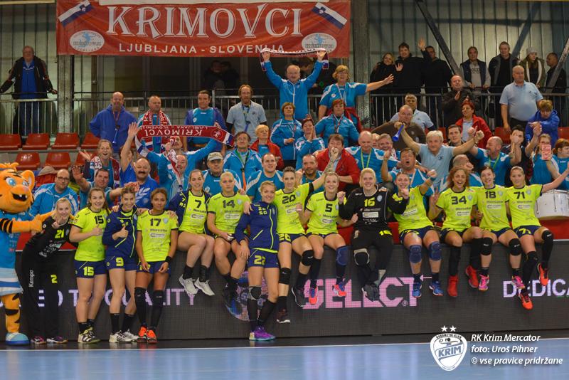 Veselje Krimovk po zmagi nad Midtjyllandom. Foto: RK Krim Mercator/Uroš Pihner