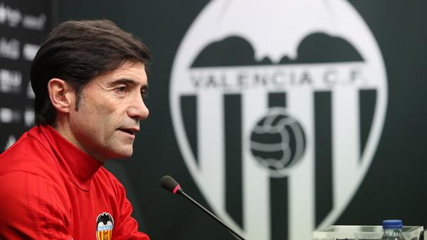 """""""Še vedno nismo dosegli svojih ciljev"""", je na novinarski konferenci rekel trener Valencie Marcelino. FOTO: FC Valencia"""