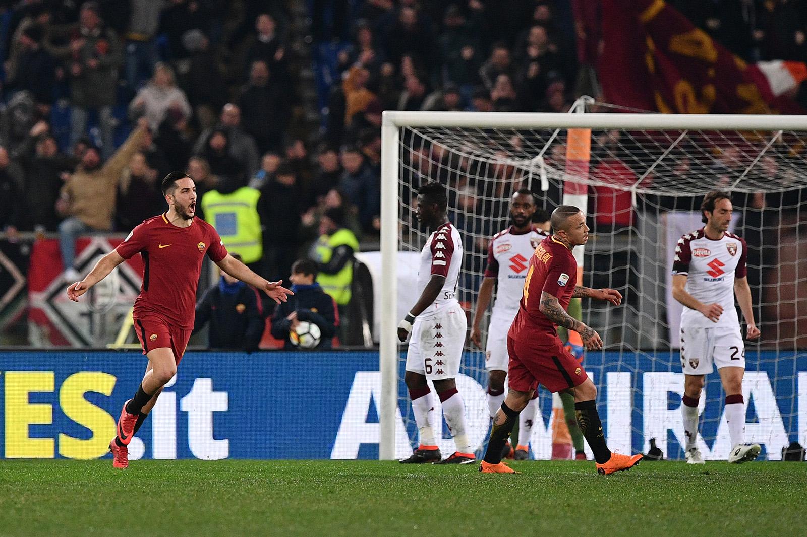 Veselje Manolasa ob prvem zadetku. Foto: FC Roma